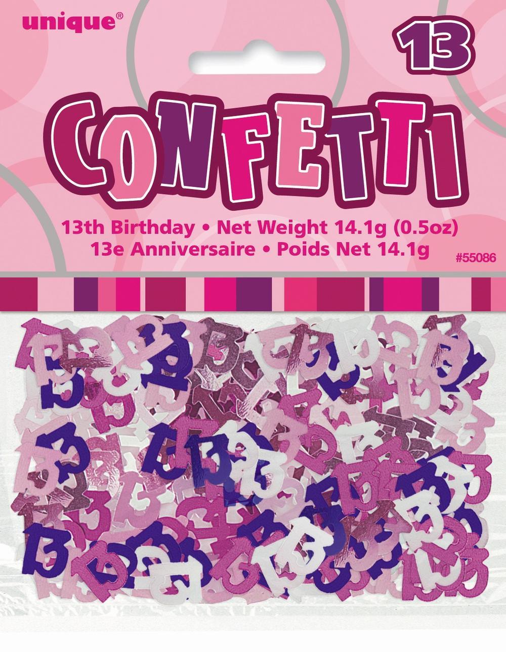 Pink Glitz Age 13 Birthday Table Confetti