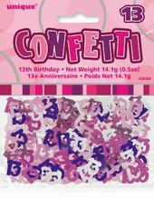 Pink Glitz Age 13 Birthday Table Confetti