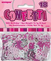 Pink Glitz Age 18 Birthday Table Confetti