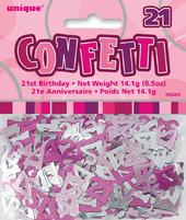 Pink Glitz Age 21 Birthday Table Confetti