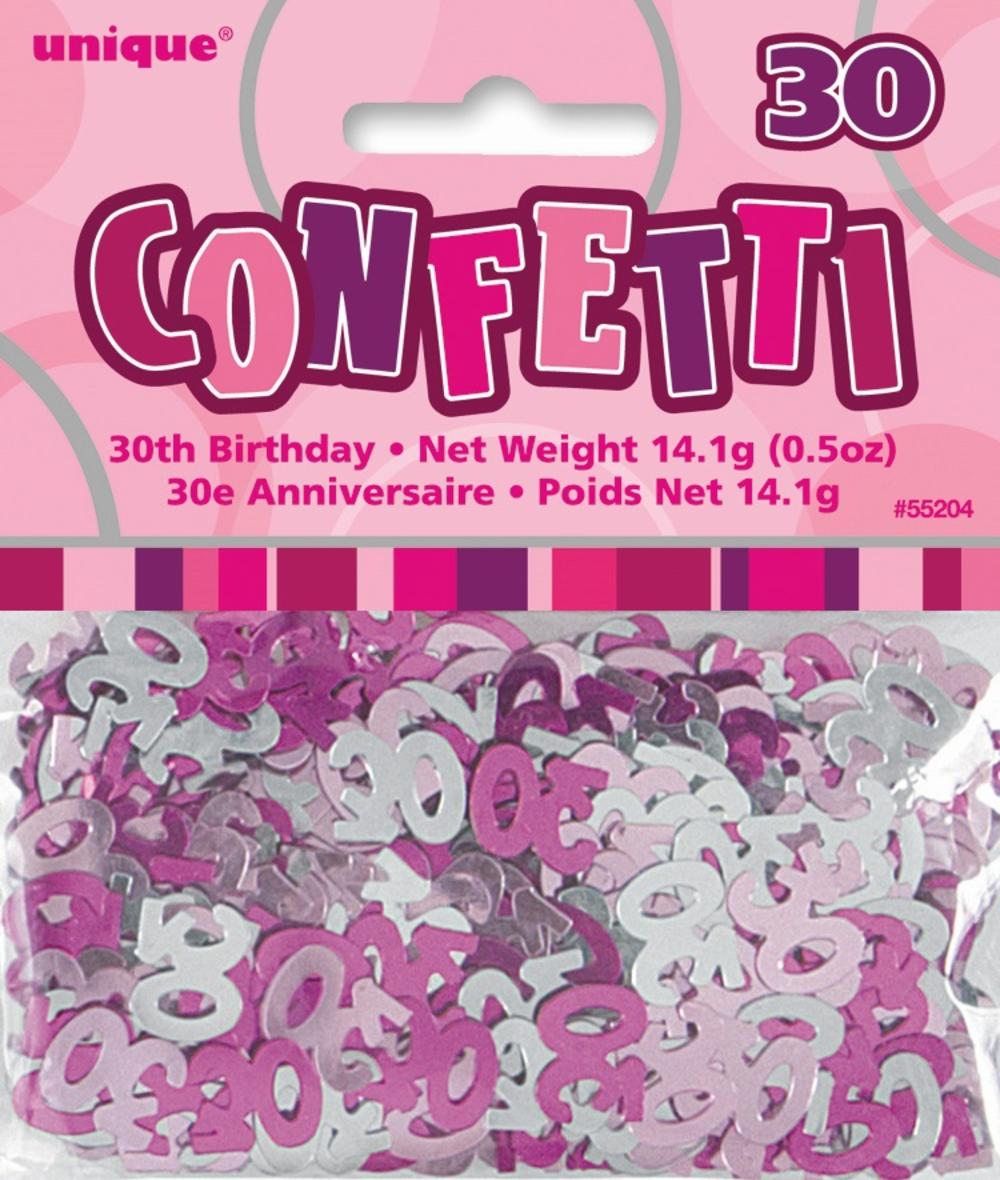 Pink Glitz Age 30 Birthday Table Confetti