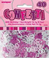Pink Glitz Age 40 Birthday Table Confetti