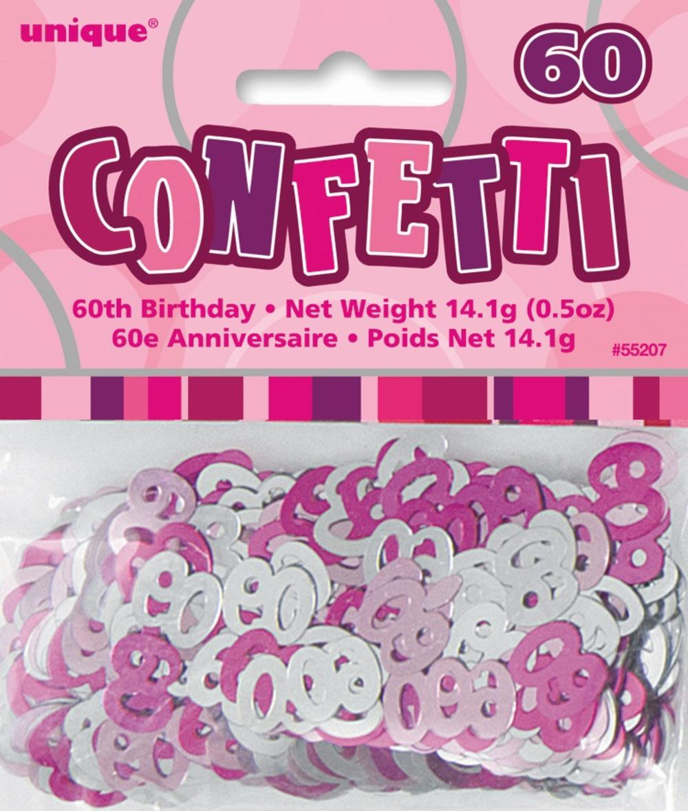 Pink Glitz Age 60 Birthday Table Confetti