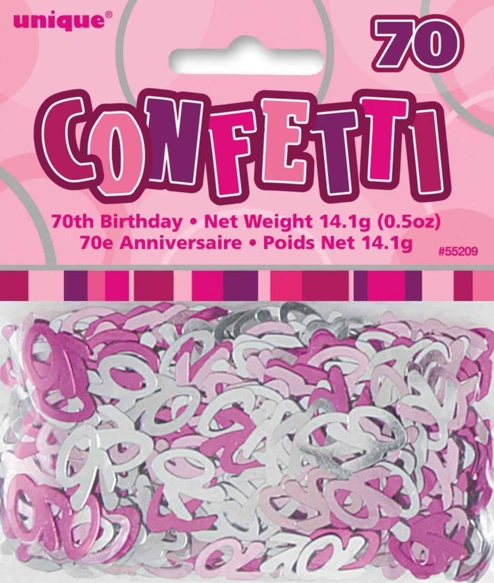 Pink Glitz Age 70 Birthday Table Confetti