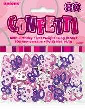Pink Glitz Age 80 Birthday Table Confetti