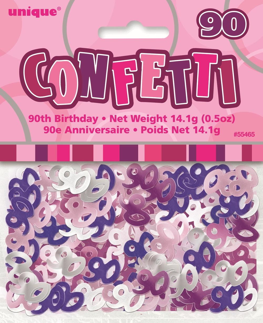 Pink Glitz Age 90 Birthday Table Confetti
