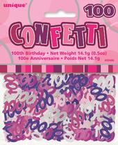 Pink Glitz Age 100 Birthday Table Confetti