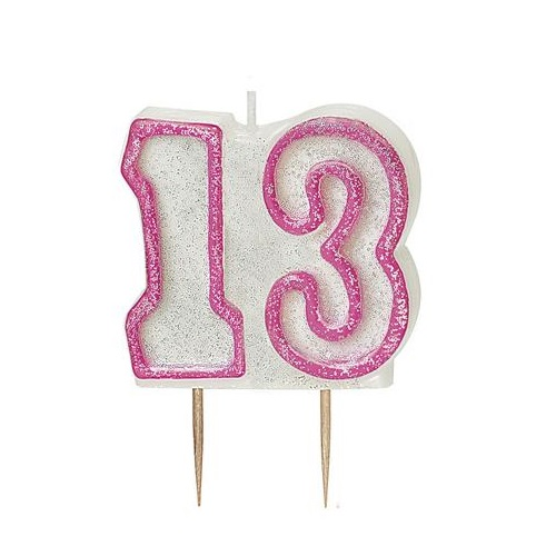 Pink Glitz Number 13 Candle 13th Birthday Cake Candles