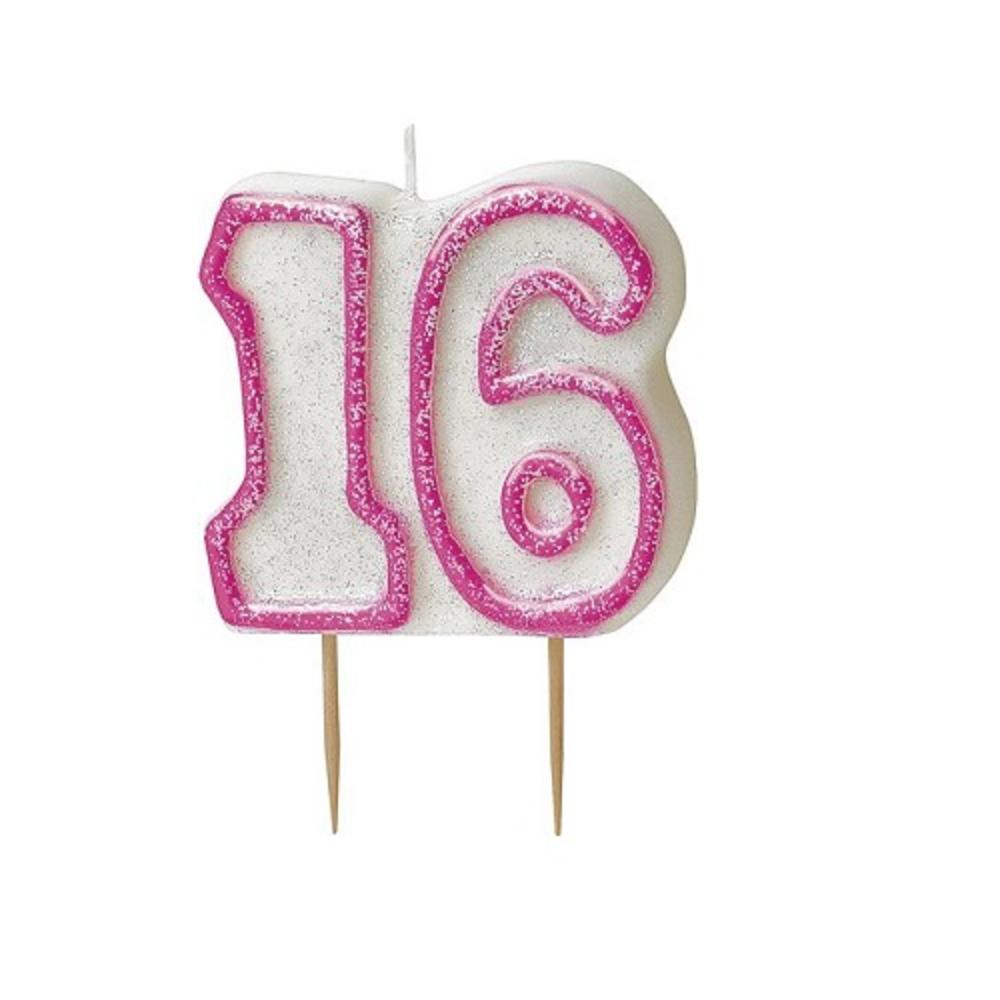 Pink Glitz Number 16 Candle 16th Birthday Cake Candles
