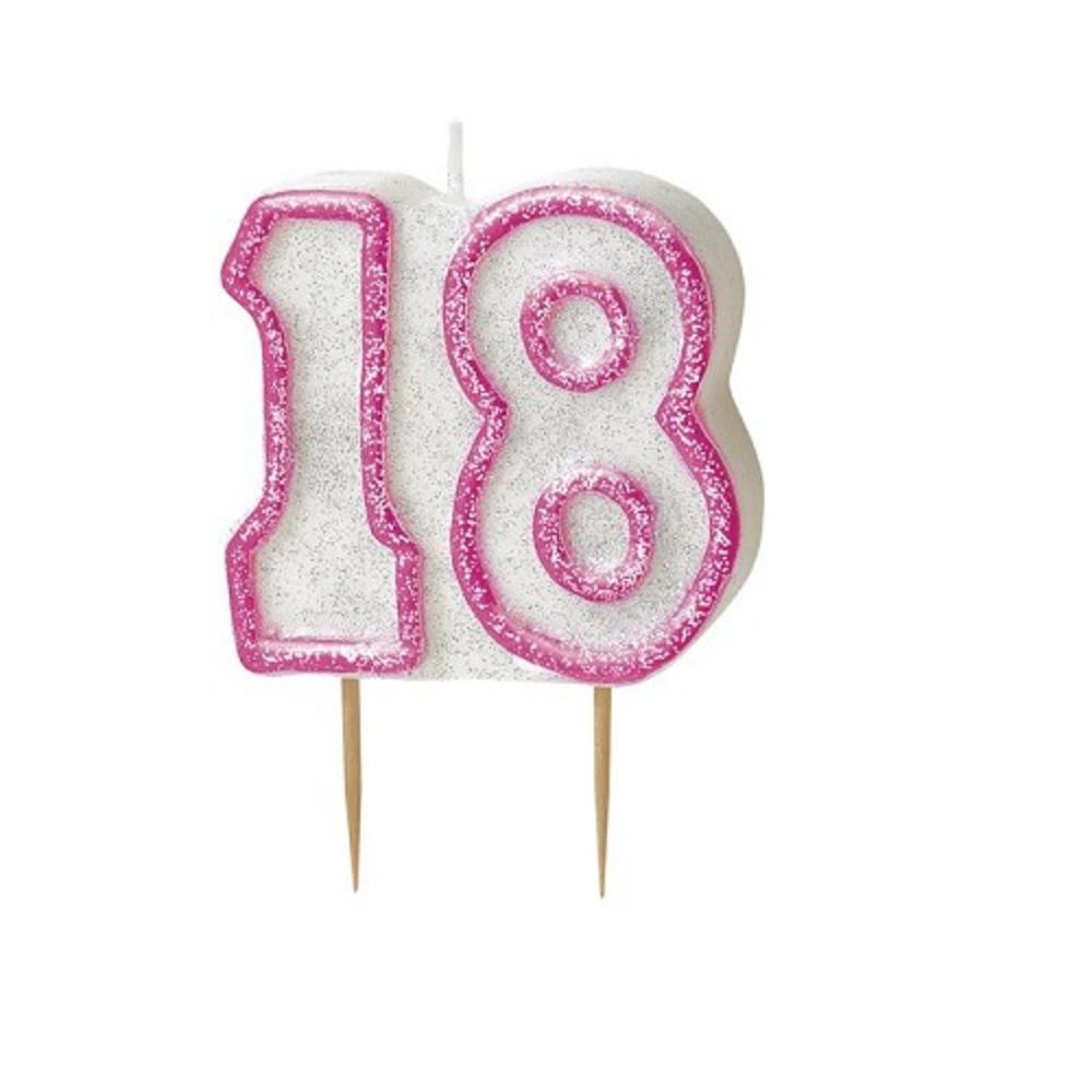 Pink Glitz Number 18 Candle 18th Birthday Cake Candles