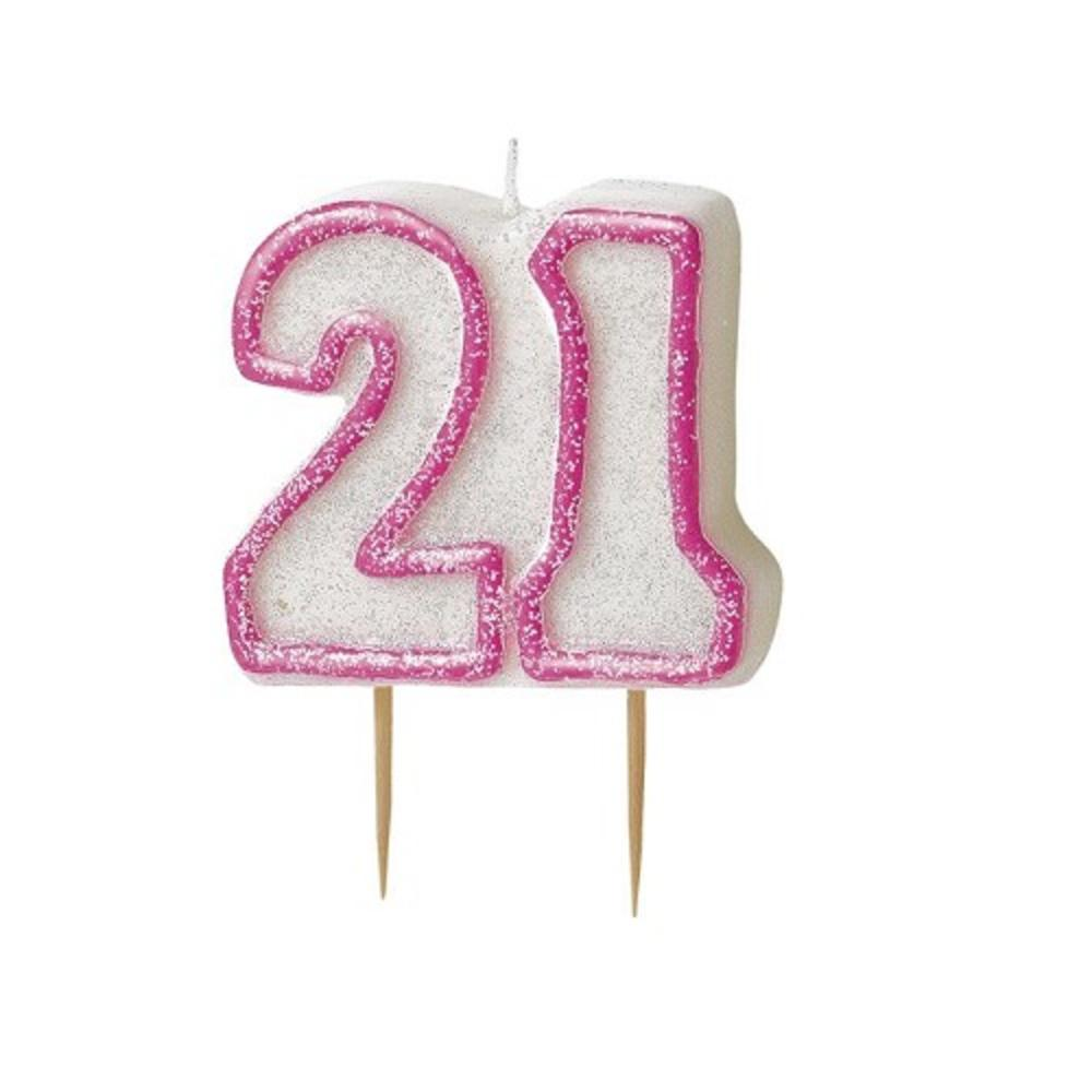 Pink Glitz Number 21 Candle 21st Birthday Cake Candles