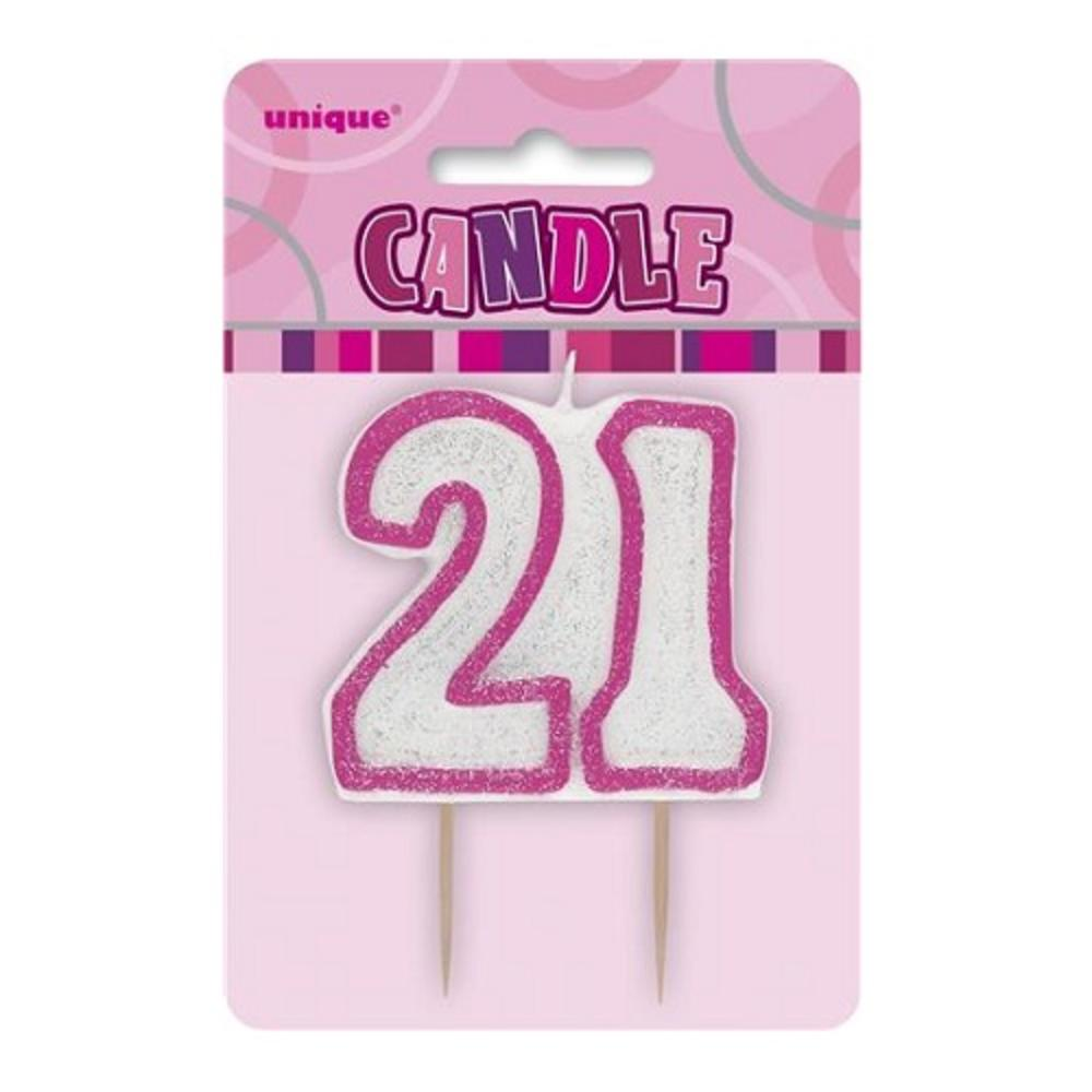 Pink Glitz Number 21 Candle 21st Birthday Cake Candles Thumbnail 1 2