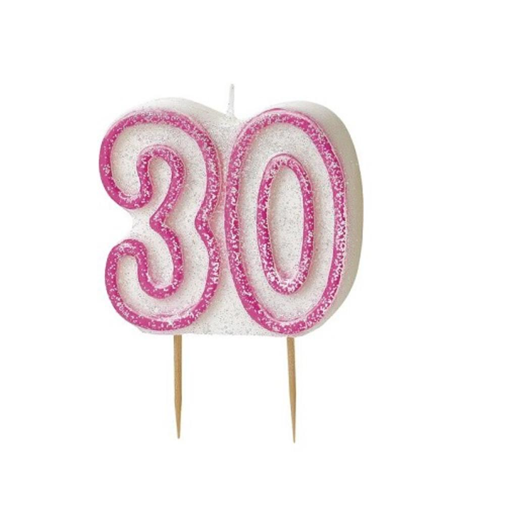 Pink Glitz Number 30 Candle 30th Birthday Cake Candles Candles