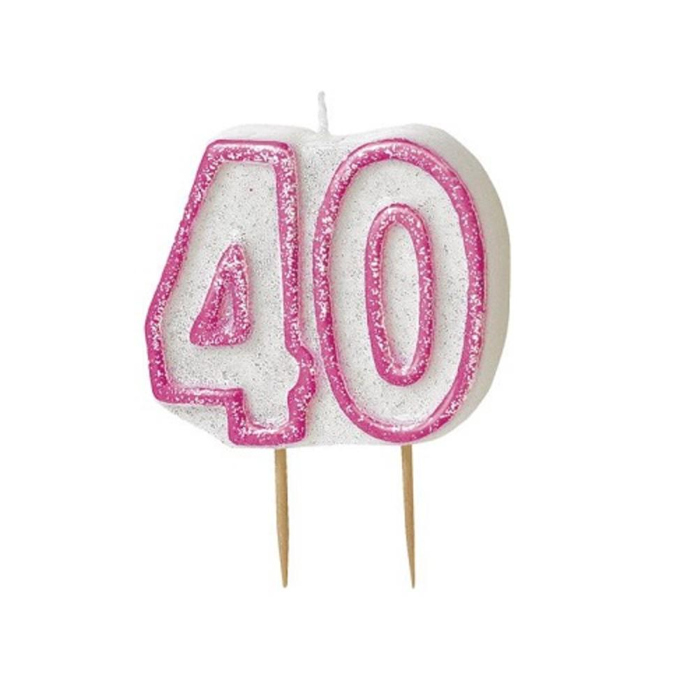 Pink Glitz Number 40 Candle 40th Birthday Cake Candles