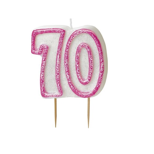 Pink Glitz Number 70 Candle 70th Birthday Cake Candles
