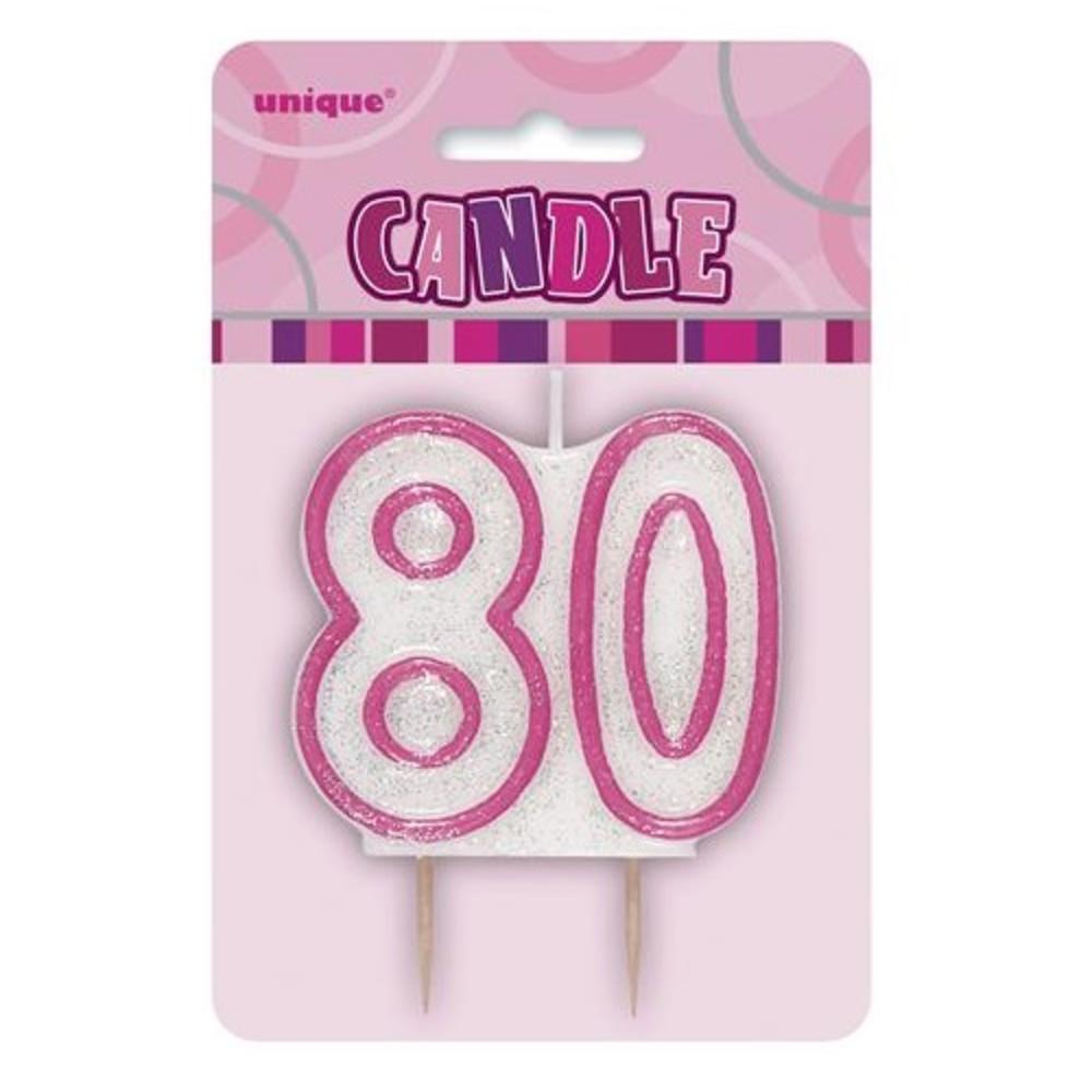 Pink Glitz Number 80 Candle 80th Birthday Cake Candles
