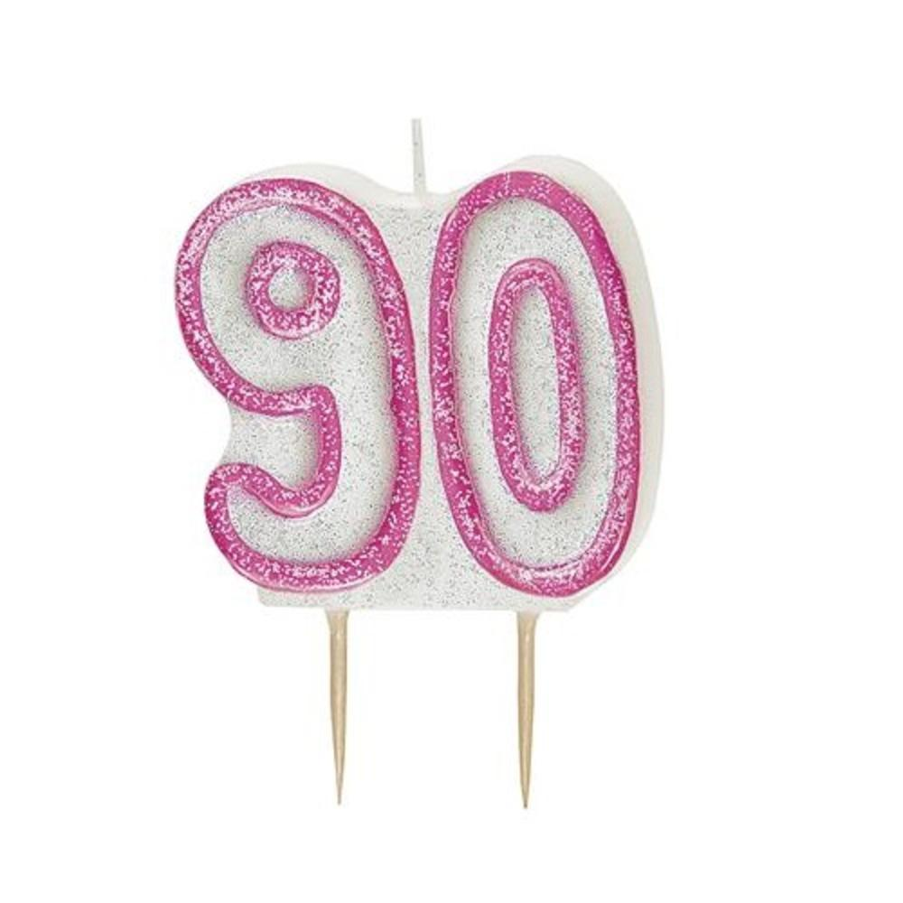 Pink Glitz Number 90 Candle 90th Birthday Cake Candles