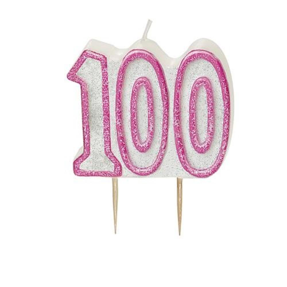 Pink Glitz Number 100 Candle 100th Birthday Cake Candles