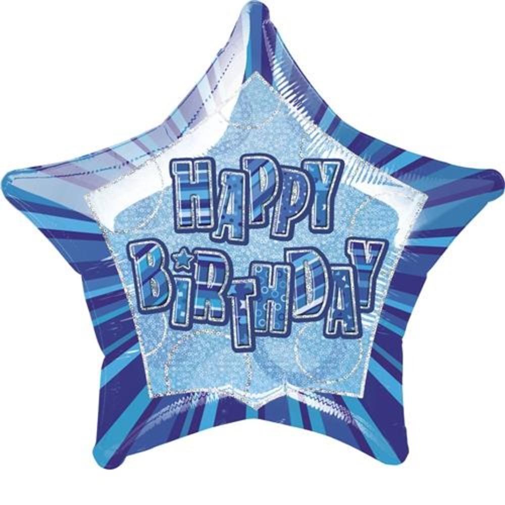 "20"" Blue Happy Birthday Prismatic Foil Helium Balloon"
