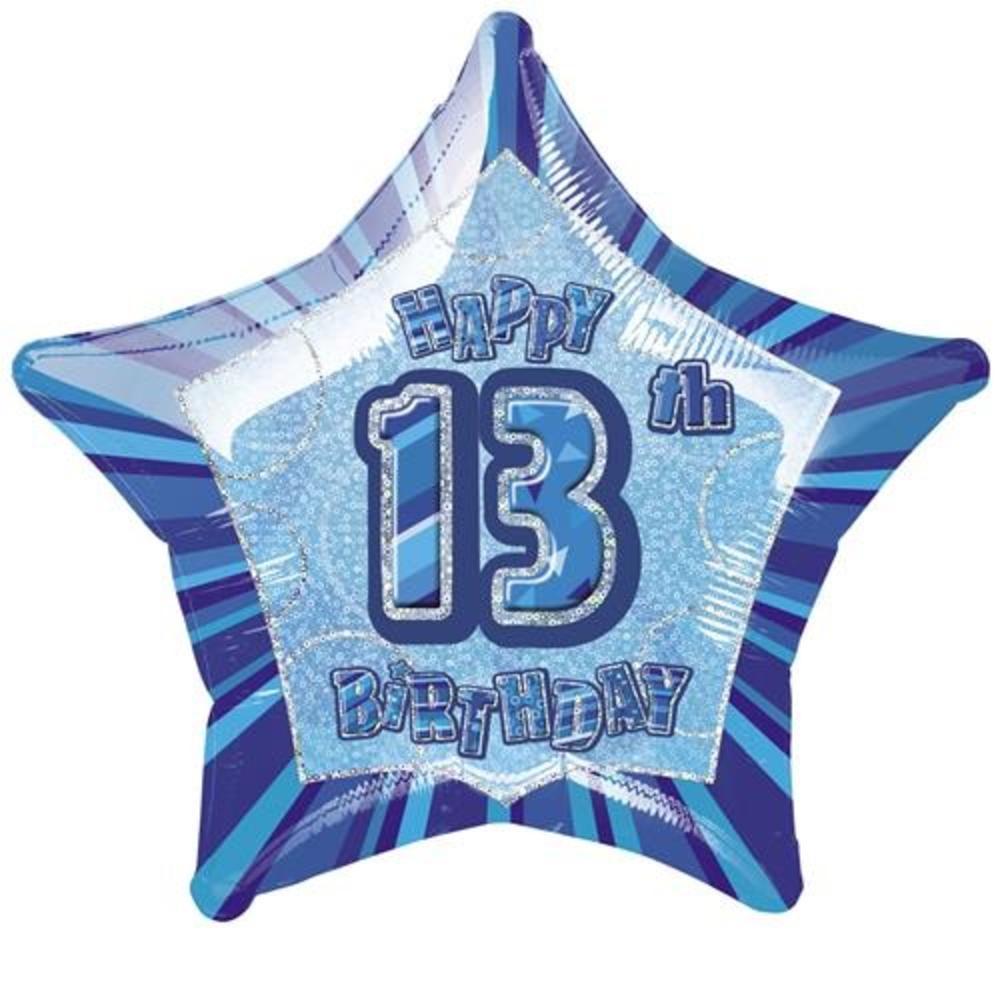 "20"" Pink Happy 13th Birthday Prismatic Foil Helium Balloon"