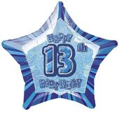 "20"" Blue Happy 13th Birthday Prismatic Foil Helium Balloon"