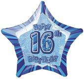 "20"" Blue Happy 16th Birthday Prismatic Foil Helium Balloon"