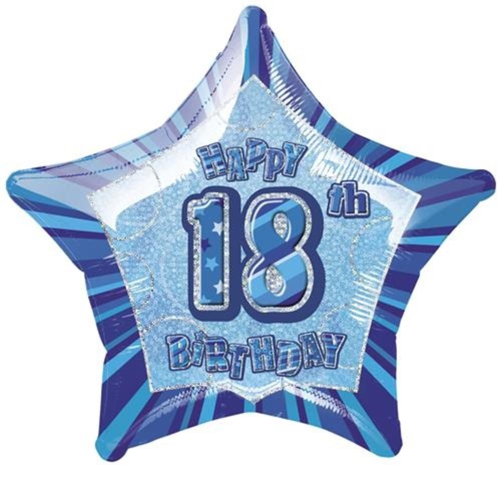 "20"" Blue Happy 18th Birthday Prismatic Foil Helium Balloon"