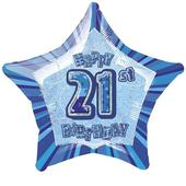 "20"" Blue Happy 21st Birthday Prismatic Foil Helium Balloon"