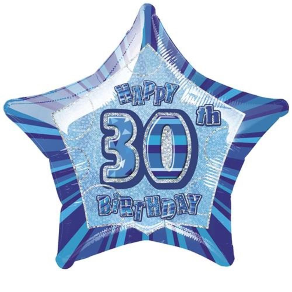 "20"" Blue Happy 30th Birthday Prismatic Foil Helium Balloon"