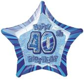"20"" Blue Happy 40th Birthday Prismatic Foil Helium Balloon"