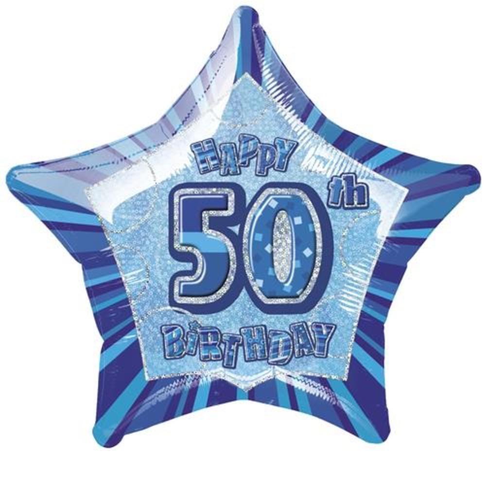 "20"" Blue Happy 50th Birthday Prismatic Foil Helium Balloon"
