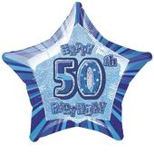 "20"" Blue Happy 50th Birthday Prismatic Foil Helium Balloon"