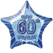"20"" Blue Happy 60th Birthday Prismatic Foil Helium Balloon"