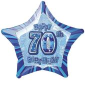 "20"" Blue Happy 70th Birthday Prismatic Foil Helium Balloon"