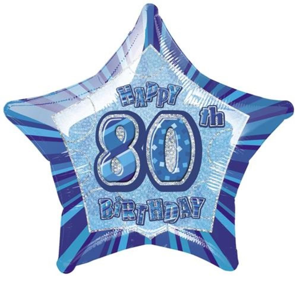 80th Birthday Prismatic Foil Helium Balloon Thumbnail 1