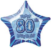 "20"" Blue Happy 80th Birthday Prismatic Foil Helium Balloon"