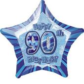 "20"" Blue Happy 90th Birthday Prismatic Foil Helium Balloon"