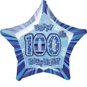 "20"" Blue Happy 100th Birthday Prismatic Foil Helium Balloon"