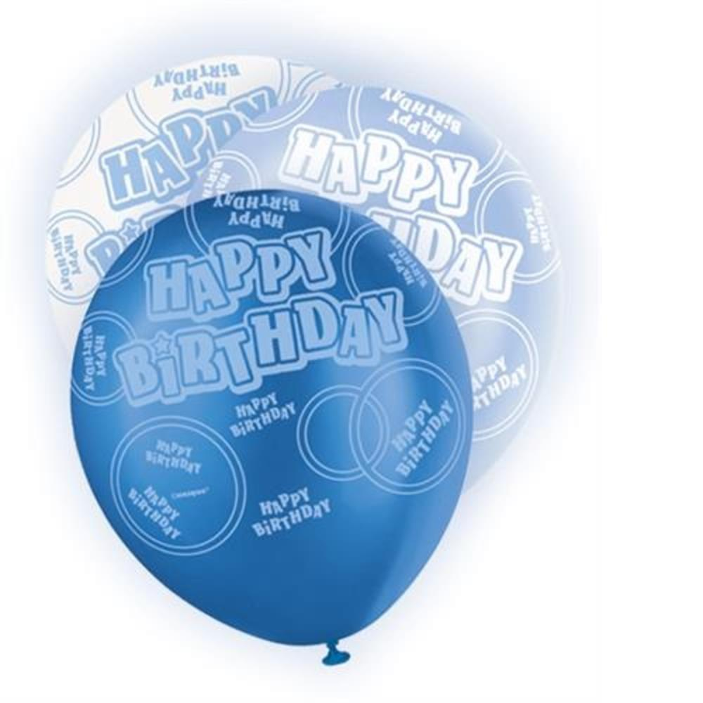 Blue Glitz Happy Birthday Pack Of 6 Latex Party Balloons