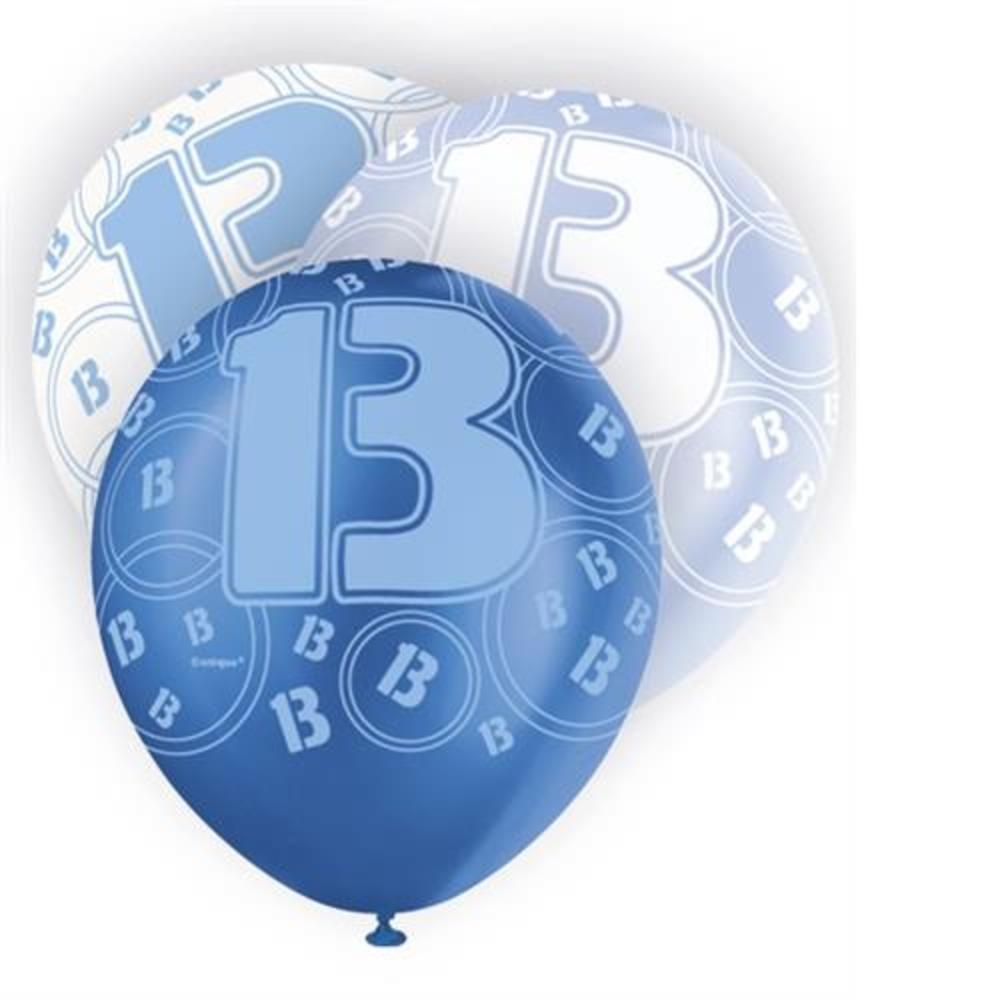 Blue Glitz 13th Birthday Age 13 Pack 6 Latex Party Balloons