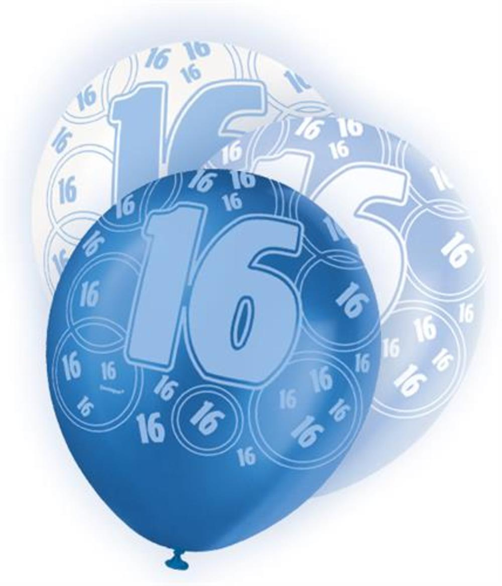 Blue Glitz 16th Birthday Age 16 Pack 6 Latex Party Balloons