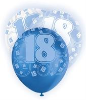 Blue Glitz 18th Birthday Age 18 Pack 6 Latex Party Balloons