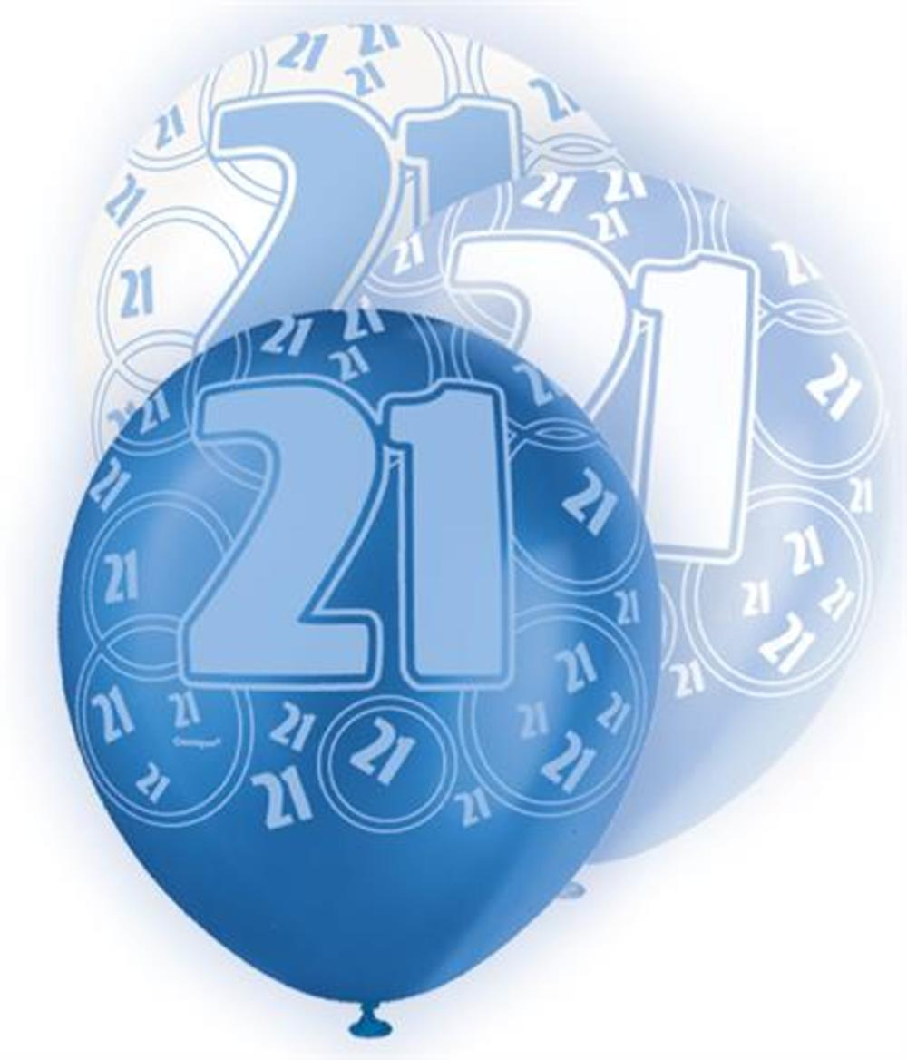 Blue Glitz 21st Birthday Age 21 Pack 6 Latex Party Balloons