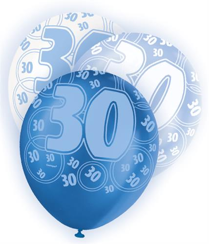 Blue glitz 30th birthday age 30 pack 6 latex party for 30th birthday decoration packs