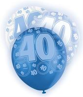 Blue Glitz 40th Birthday Age 40 Pack 6 Latex Party Balloons