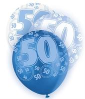 Blue Glitz 50th Birthday Age 50 Pack 6 Latex Party Balloons