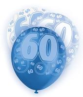 Blue Glitz 60th Birthday Age 60 Pack 6 Latex Party Balloons