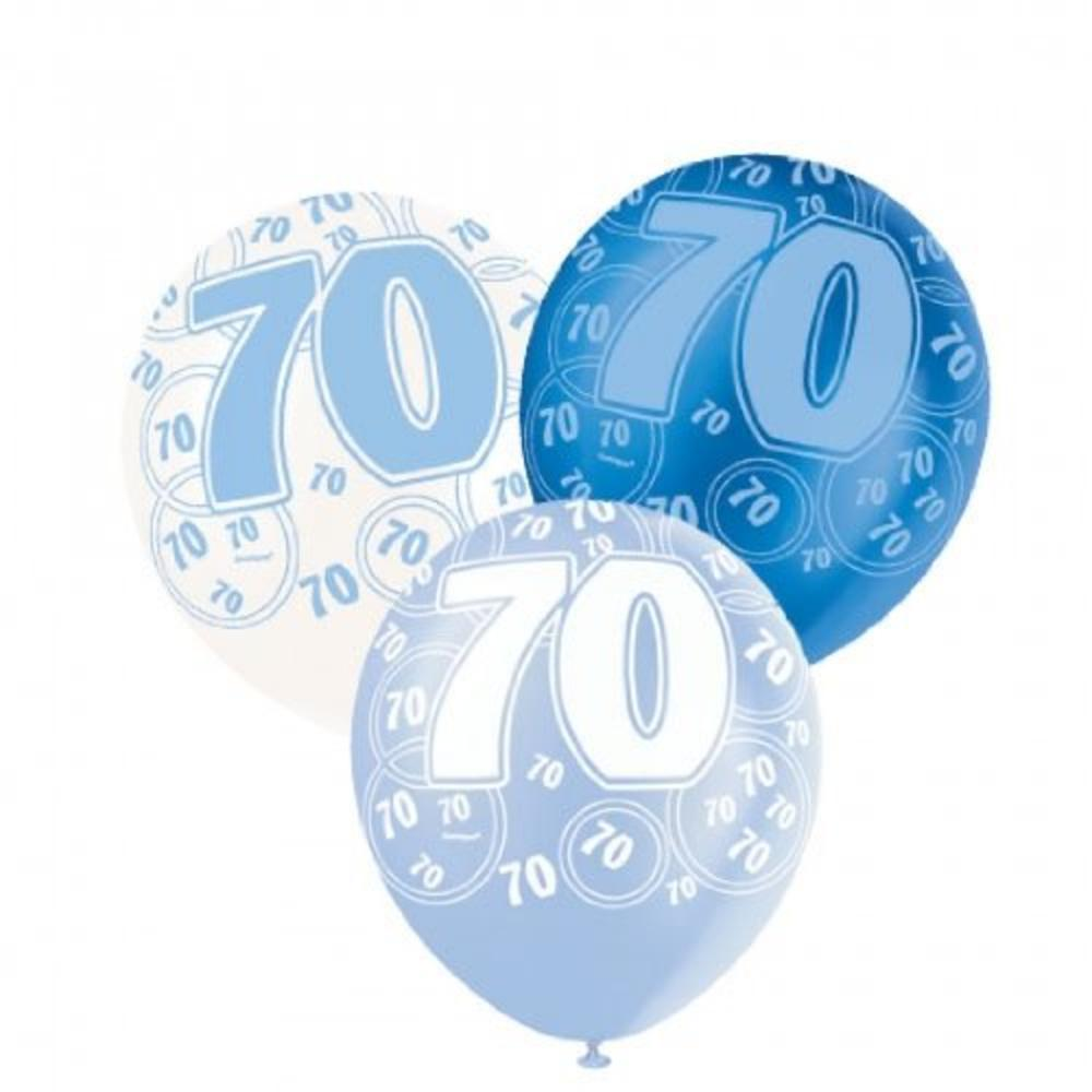 Blue Glitz 70th Birthday Age 70 Pack 6 Latex Party Balloons