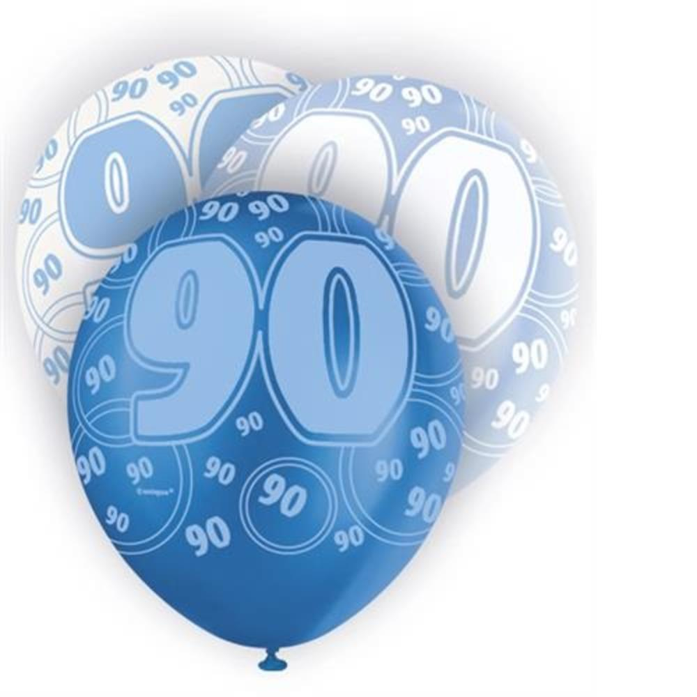 Blue Glitz 90th Birthday Age 90 Pack 6 Latex Party Balloons