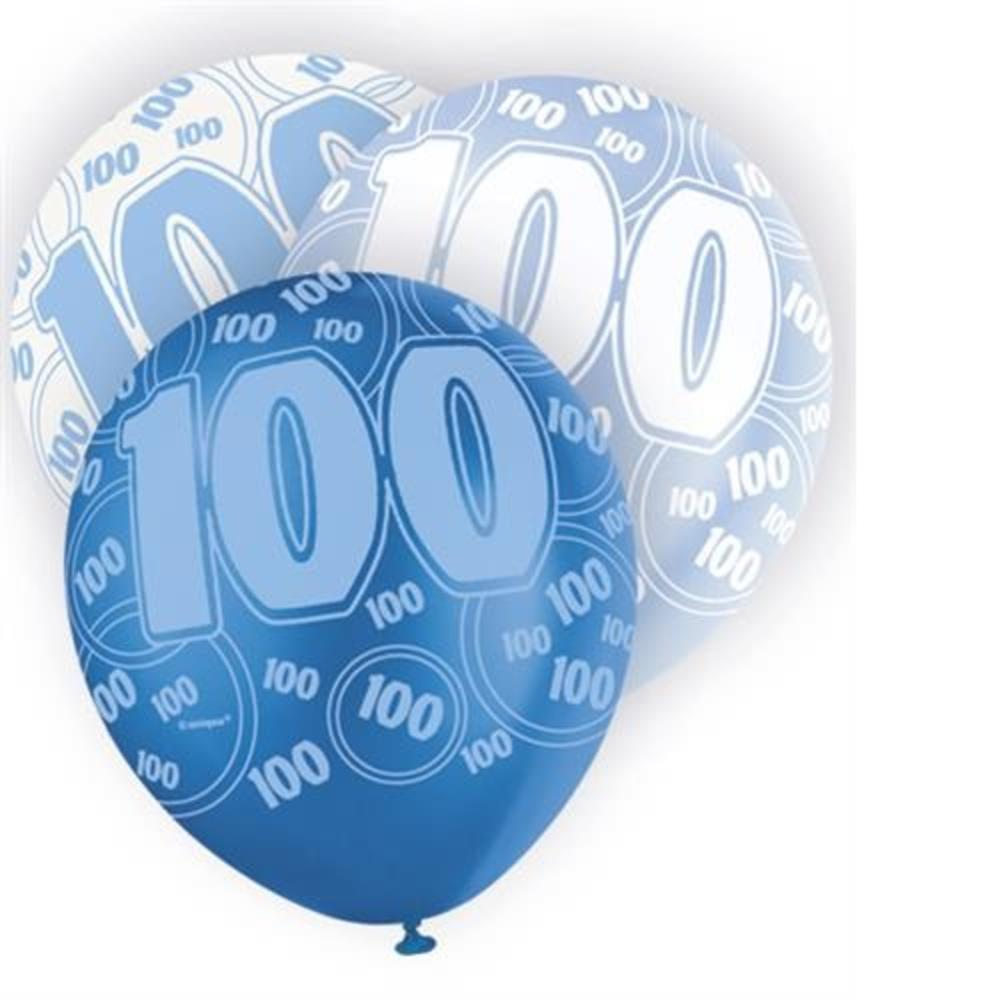 Blue Glitz 100th Birthday Age 100 Pack 6 Latex Party Balloons